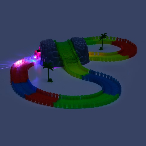 FENG YUAN DA 170201-A 164PCS Twister Tracks Flexible Assembly Neon Glow in the Dark with Bridge Tunnel Track Race Car for Kids
