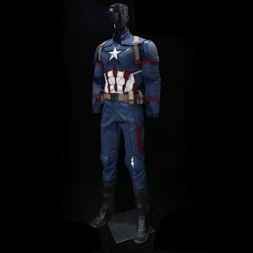 1:1 Captain America 3 Wearable Men's Suit Superhero Cosplay Costume for Halloween Festival Party Decoration