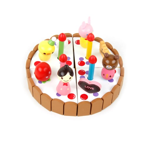 Wooden Cake Toys Set Role Play Toys for Children Learning and Educational Toys DIY Toys Birthday Gifts for Kids