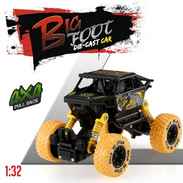 Classic Pull Back Car 1/32 Alloy 4WD Big Wheels Shock Resistant Off Road Climbing Car Pull Back Vehicle Toy Truck