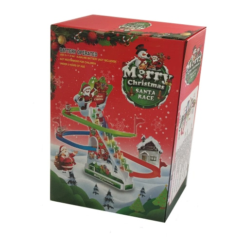 Christmas Santa Climbing Stairs Track Toy with Light and Music Santa Chase Game Christmas Gift for Kids