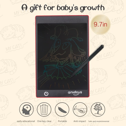 Ametoys 9.7-Inch LCD Writing Tablet Drawing Red – Colorful