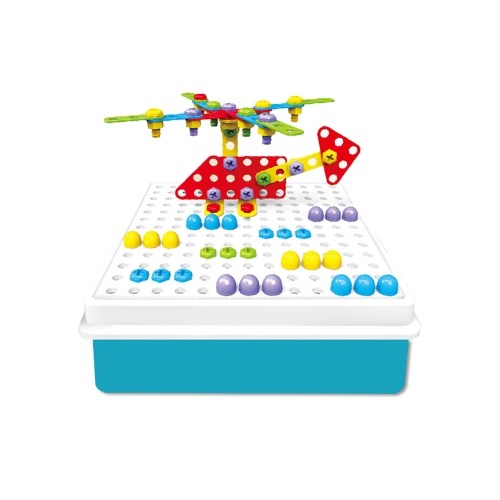 193Pcs Pile Up Mushroom Nails Jigsaw Pegboard Creative Puzzle Electric Drill Educational Toys for Kids
