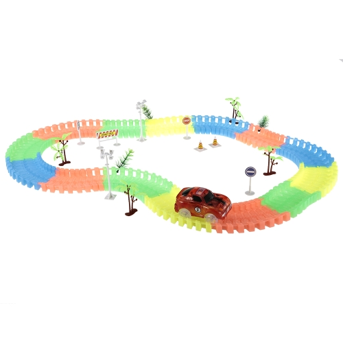172PCS 55mm Twister Tracks Flexible Assembly Neon Glow in Darkness with Decal Tree Fire Cone Street Lamp Traffic Sign Track Race Car for Kids