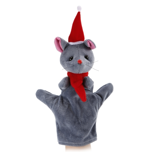 Animal Hand Puppet Cute Cartoon Christmas Mouse Plush Toys Hand Plush Doll Child Christmas Gift Toys