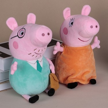 Original Brand Peppa Pig 30cm Dad Stuffed Plush Toy Family Party Doll Christmas New Year Gift for Kids