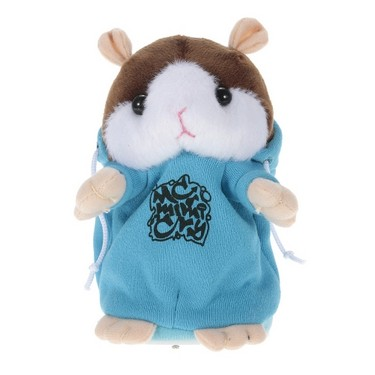 Talking Hamster Repeats What You Say Cute Plush Electronic Mimicry Hamster Interactive Stuffed Toy Gift for Kids Birthday and Party – BLUE