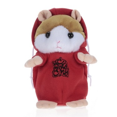 Talking Hamster Repeats What You Say Cute Plush Electronic Mimicry Hamster Interactive Stuffed Toy Gift for Kids Birthday and Party-RED