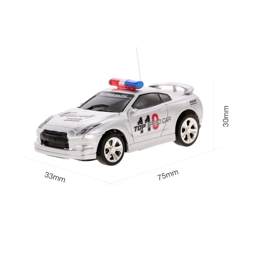 Create Toys 2006D 1/58  Mini RC Car Toy 2CH Remote Control Electric Police Car with Music Light – 4 Types Randomly Delivered