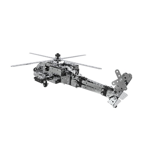 620Pcs Apache Helicopter Intelligent Construction Set 3D Stainless Steel Model Kit DIY Gift Model Building Educational Toys
