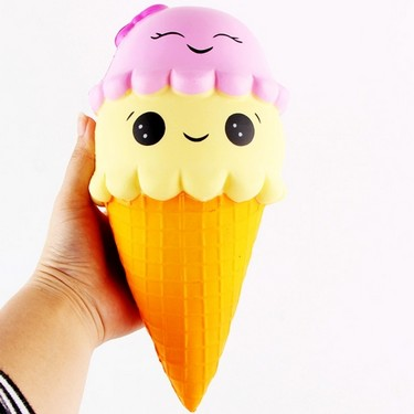 22cm Cute Slow Rising Squishy Ice Cream Imitation Scented Cake Charms Kids Toy Doll Gift Fun for Relieves Stress Cabinet Decor