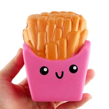 1Pcs Cartoon Squishy Slow Rising Toys Super Cute French Fries Cake Elasticity Stretch Soft Squeeze Funny Stress Relief Toys Gift Red