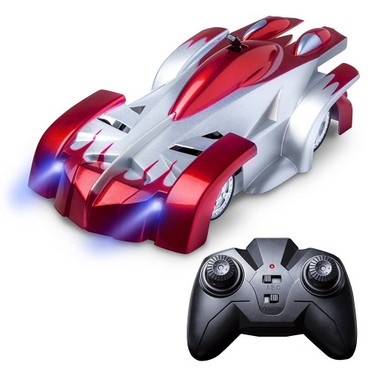 RC Wall Climbing Racing Car Sport Climber with LED Lights  360° Rotating Stunt Toys Home Vehicle Mini Gravity Remote Control Cars Electric Rocket Toy Xmas Gift Red