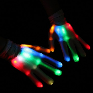 1 Pair of Colorful LED Luminous Gloves Rave Lighting Flashing Finger Glove Unisex Skeleton Dancing Club Props Party Style 2