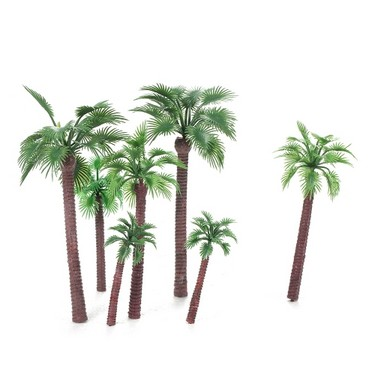 12pcs Serious Play Architectural Model Palm Trees Railway Landscap Scenery Plastic Tree