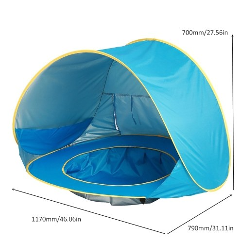 Children Waterproof Pop Up Awning Tent Baby Beach Tent UV-protecting Sunshelter with Pool Kids Outdoor Camping Sunshade Beach Game House