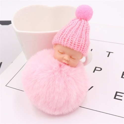 Cute Small Sleeping Baby Doll Fake Fur Fluffy Ball Keychain Bag Key Rings Pendant Ornaments Gifts Color White