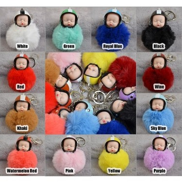 Cute Sleeping Baby Doll Helmet Pompom Keychain Fake Fur Fluffy Ball Bag Key Rings Car Motorcycle Key Pendant Jewelry Accessories Gifts Color White