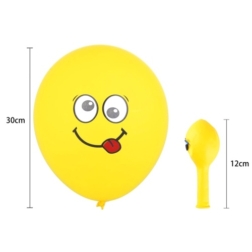 Cute Printed Big Eyes Emoji Smiley Face Latex Balloons for Party Birthday or Holiday Decoration Style 1 Pack of 10 Yellow