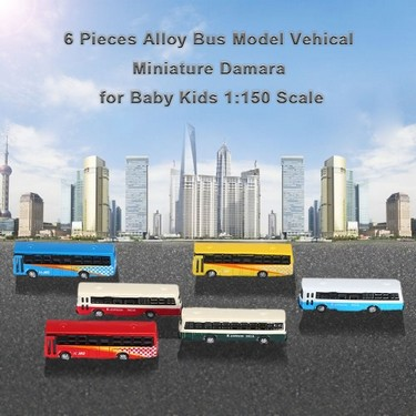 6 Pieces Alloy Bus Model Vehical Miniature Diorama for Baby Kids 1:150 Scale