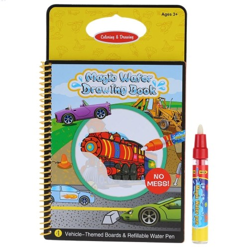 Non-toxic Magic Water Drawing Book Coloring Book Doodle with Magic Pen Vehicle Series Painting No Ink Educational Toy
