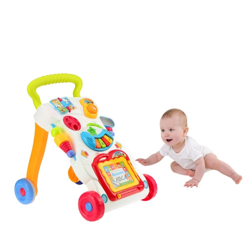 Multifuctional Toddler Trolley Sit-to-Stand ABS Musical Walker with Adjustable screw