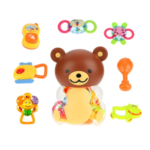 8 Pieces Baby Rattle and Teether Infant Teething Toys Toy Play Set