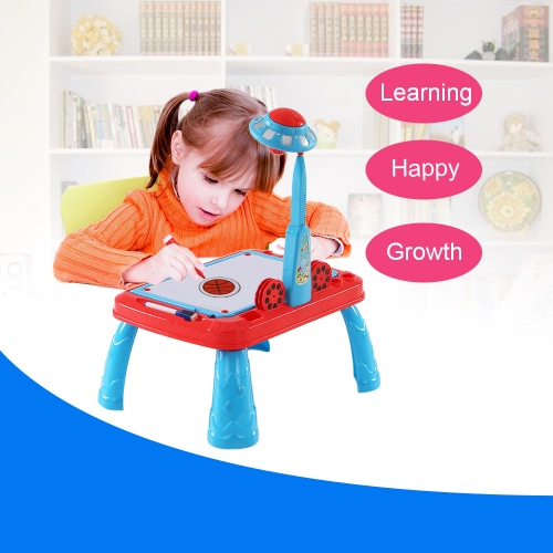 Cute Child Drawing Practice Study Table Kids Learning Desk with UFO Appearance Projector
