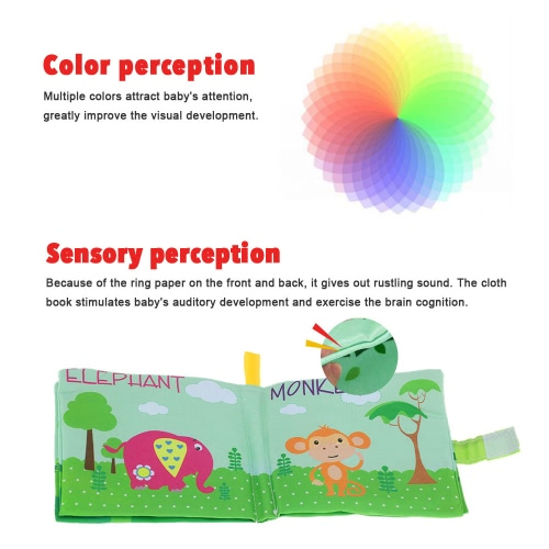 Coolplay Baby's First Fabric Book Washable Soft Cloth Book Squeak Rattle Crinkle Toy for Infant Toddler Learning Animals