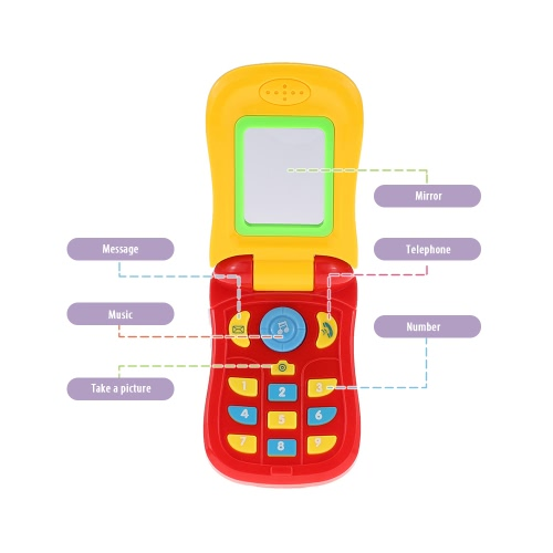 Coolplay Colorful Baby Music Cellular Phone Toy Flip Diary Case Cover Musical Mobile Phone Cellphone Intellecture Enlightment Toy with Lights and a Mirror