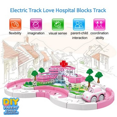 Electric Rail Car Racing Car Puzzle Electric Track Love Hospital Blocks Track Battery Powered DIY Toy Set for Kids