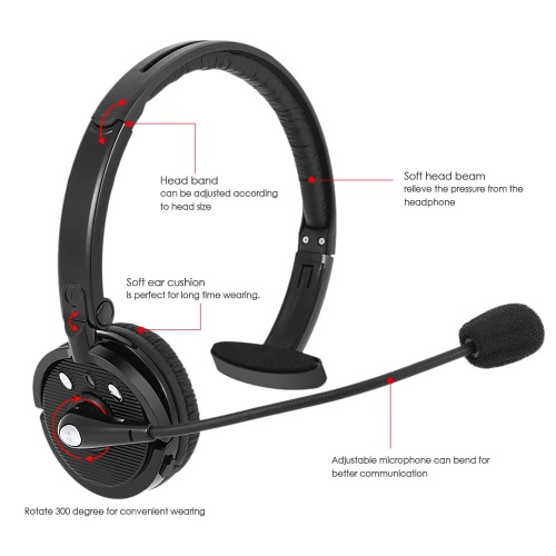 SK-BH-M10B Wireless BT Stereo Business Headphone Over-ear Hands-free Headset with Mic for  Office Customer Service Smart Phones PC Other BT-enabled Devices