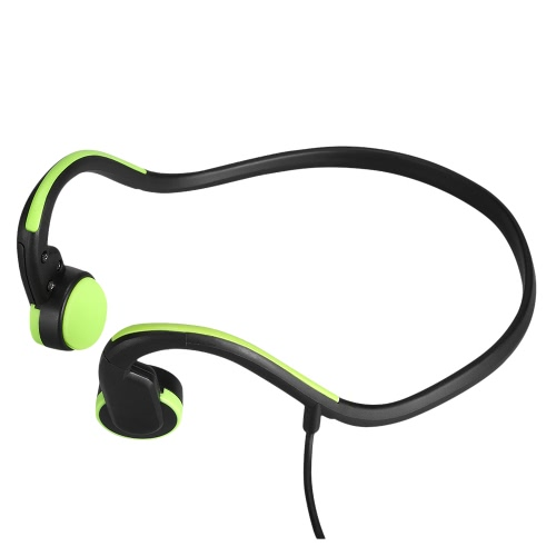 Bone Conduction Headsets Wired Earphone Outdoor Sports Headphones Noise Reduction Hands-free with Mic Black with Green for Smart Phones Tablet PC Notebook