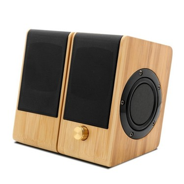 S132 Mini Bamboo Speaker AUX Input Stereo Music Hi-Fi Sound Subwoofer Double Bass USB Power Supply Main & Sub Speakers Home Theater for Office Home
