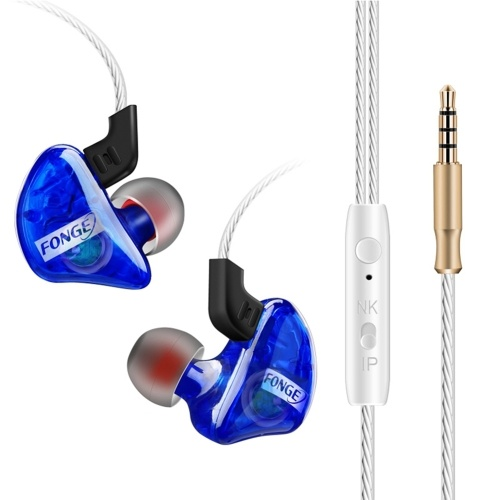FONGE T01 Wired In-ear Earphones Ear Hook Earbuds Stereo Super Bass Headphones Sport Headset with Mic Blue
